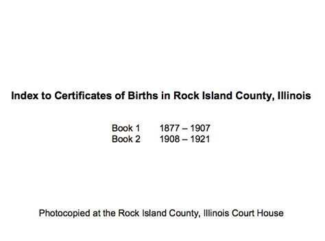 Island Birth Records Index To Certificates Of Births In Rock Island County Illinois Rock Island County
