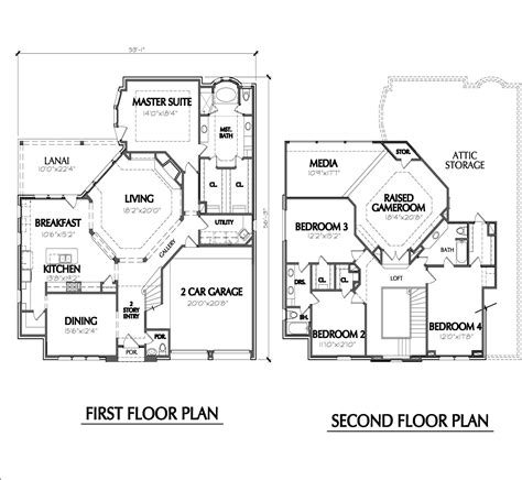 Two Story Floor Plans Two Story Home Plan E1022
