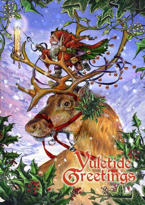 guided  northern lights yule card pagan yule vintage christmas yule