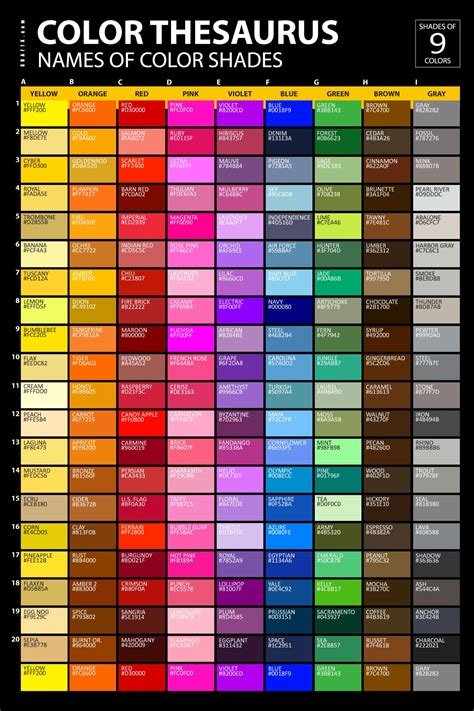 different colors list of colors with color names graf1x