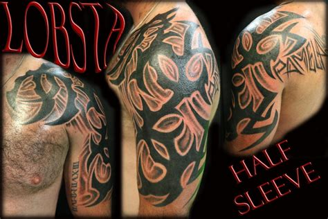 half body tribal tattoos custom tribal half sleeve by lobsta tattoos