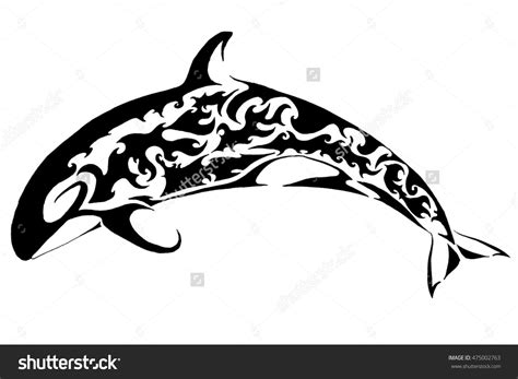 tribal whale tattoo orca tribal stock illustration 475002763