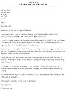 Transportation Expert Cover Letter by Transport Manager Cover Letter Exle Icover Org Uk