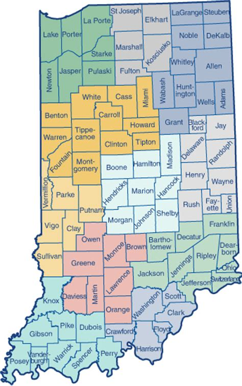 printable map indiana map of indiana counties printable