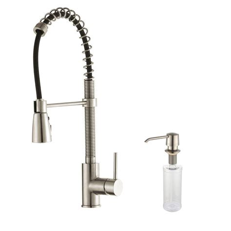 commercial style kitchen faucet kraus commercial style single handle pull sprayer kitchen faucet with soap dispenser in
