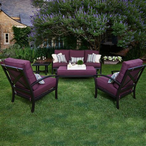 meadowcraft patio furniture meadowcraft maddux wrought iron 5 seating patio conversation set fife plum