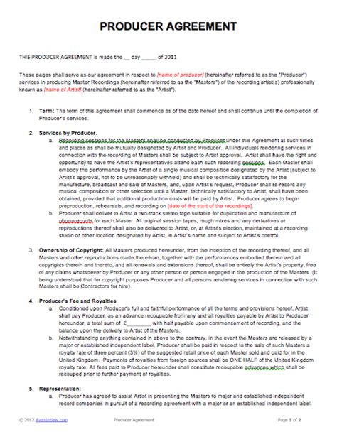 Music Producer Agreement Gtld World Congress Sound Production Contract Template