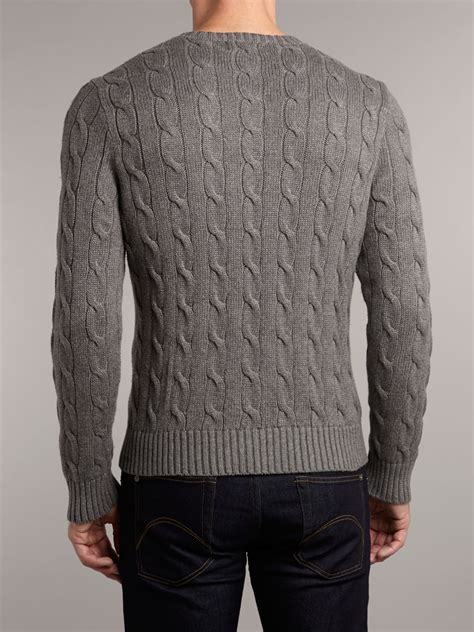 ralph cable knit jumper polo ralph classic cable knit crew neck jumper in