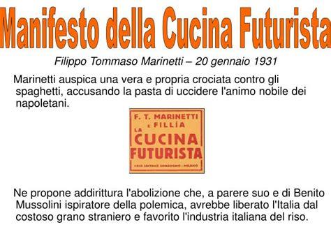 manifesto cucina futurista ppt cibo letteratura la pasta powerpoint presentation