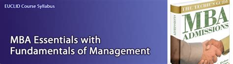 Mba Essentials by Euclid Course Details With Syllabus For Mba Mgmt Mba