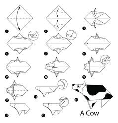 How To Make An Origami Cow - instructive vector images 6 100