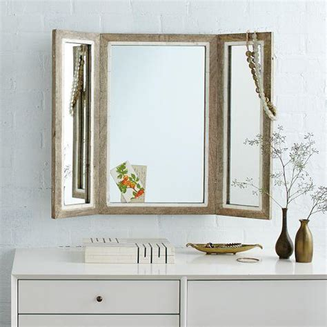 tri fold bathroom mirrors trifold mirror west elm