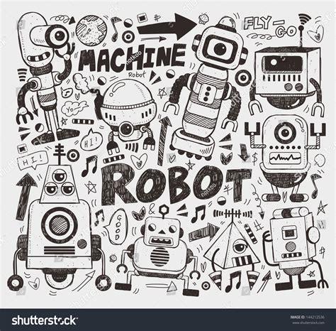 doodlebug drawing robot doodle robot element illustrator line tools stock vector