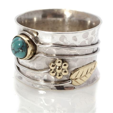 Handcrafted Silver Rings - handmade turquoise flower silver ring by s web