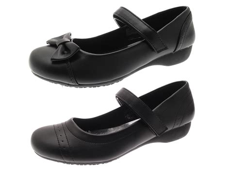 black school shoes low wedge heel comfort