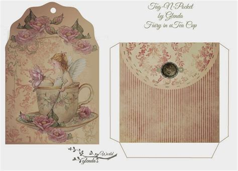 design journal gift free fairy in a tea cup tag n pocket do it yourself