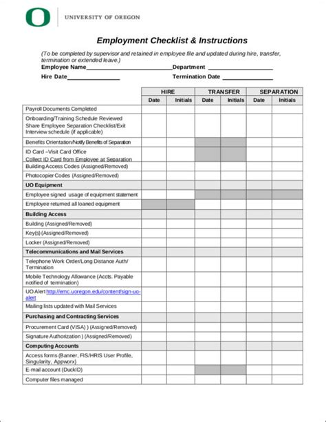 Checklists To Boost Efficiency And Reduce Mistakes Sle Templates Employee Personnel File Template