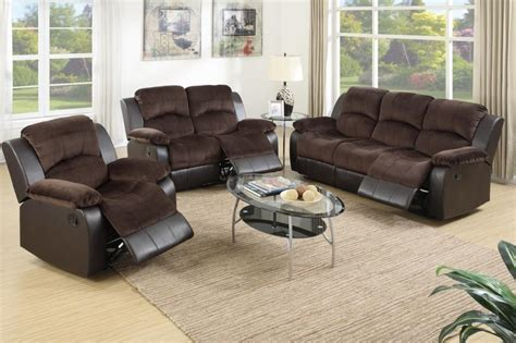 poundex 3 pieces two tone suede motion sofa loveseat