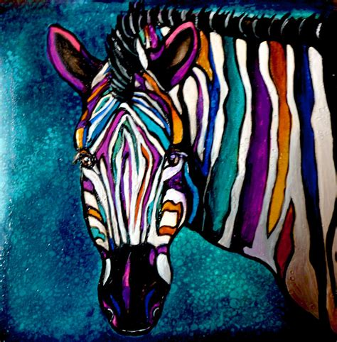 colorful zebra colorful zebra painting by jean habeck