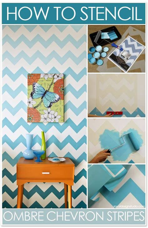 chevron template for walls how to stencil chevron stripes with ombre pattern royal