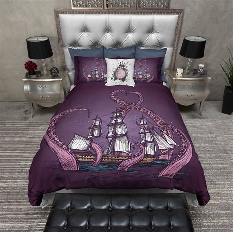 octopus bedding purple octopus kraken ship duvet bedding sets ink and rags