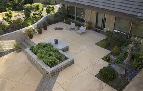 stained and scored concrete patio ideas with aggregate