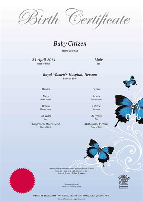 Commemorative Certificate Template by Queensland Commemorative Birth Certificates Your Rights