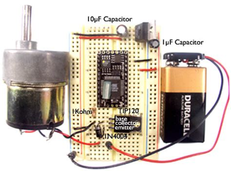dc motor capacitor resistor dc motor with a tip120 transistor code circuits construction