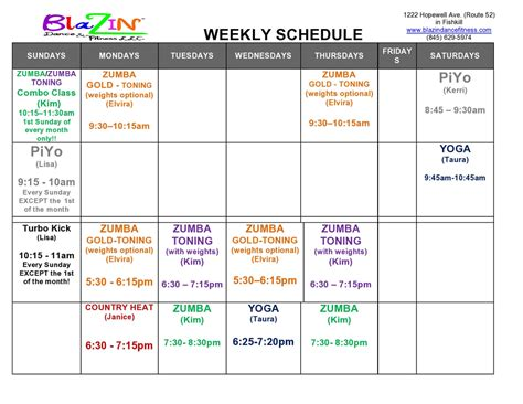 weekly schedule blazin dance fitness llc