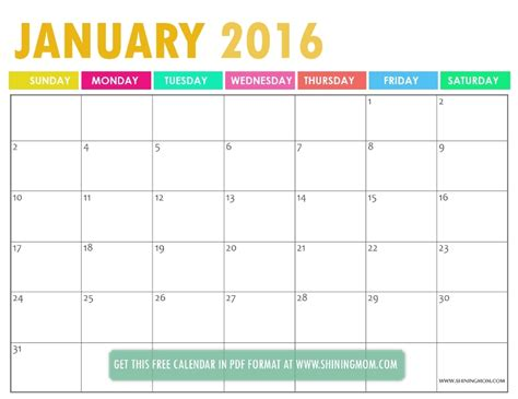 printable planner january 2016 all lovely free printable january 2016 calendars