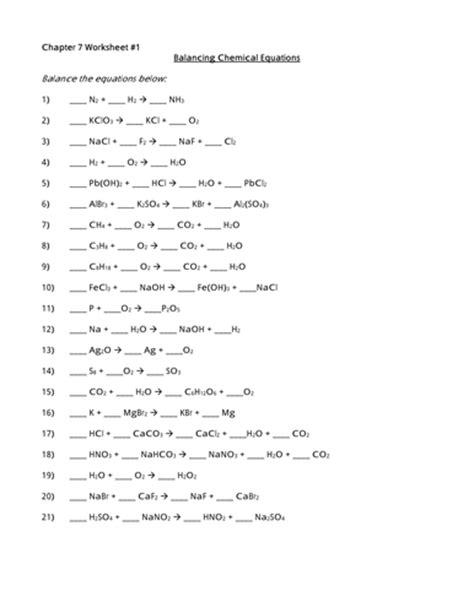 Balancing Chemical Reactions Worksheet by Balancing Chemical Equations Worksheet Maker By Stemsheets