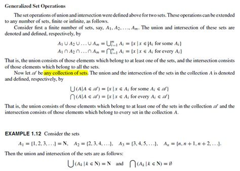 elementary set theory when is elementary set theory generalized set operation