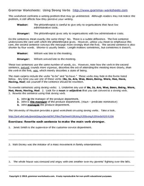 Strong Verbs Worksheets