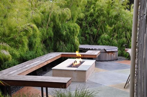 Rectangle Fire Pit Patio Modern With Bench Built In Bench Modern Outdoor Firepit