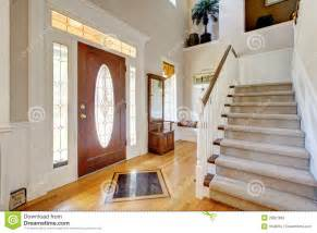 Double Staircase Foyer Classic American Home Entrance Interior With Staircase