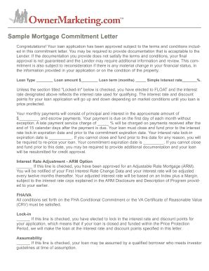 Commitment Letter Floating Rate Sle Mortgage Letter Fill Printable Fillable Blank Pdffiller
