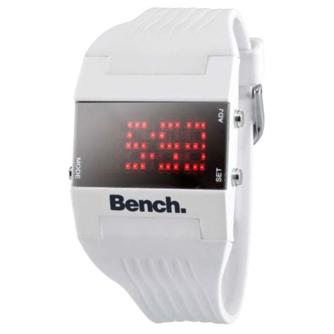bench digital watch bench women s white strap digital watch clothing thehut com