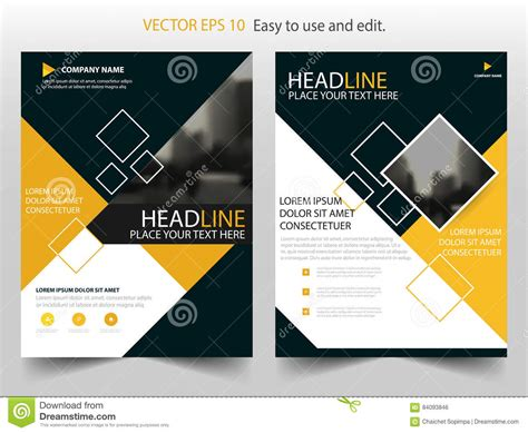 leaflet cover layout yellow annual report brochure flyer design template vector