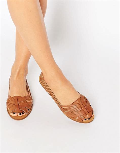 new look new look woven peep toe ballerina flat shoes
