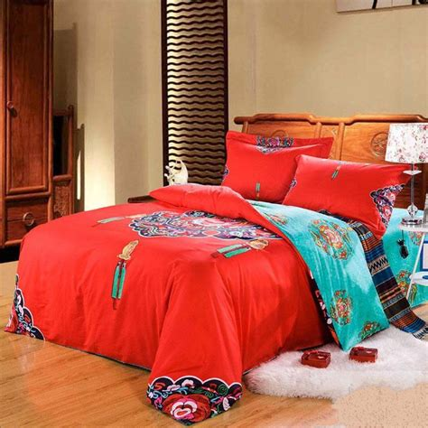Retro Bed Sets Style Retro Bedding Set Home Textile Wedding Bedsheet 100 Cotton King Size
