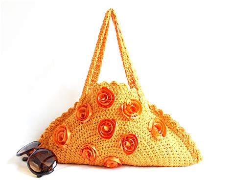Etsy Handmade Bags - tote bag orange mini bag handmade crochet bag on sale by
