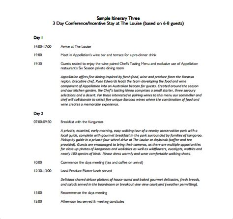 sample itinerary template 7 free documents in pdf
