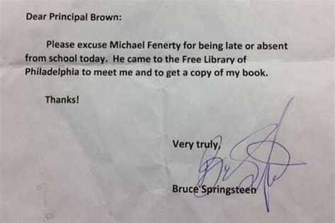 Excuse Letter For Pre K Bruce Springsteen Signs School Absence Note For Fan