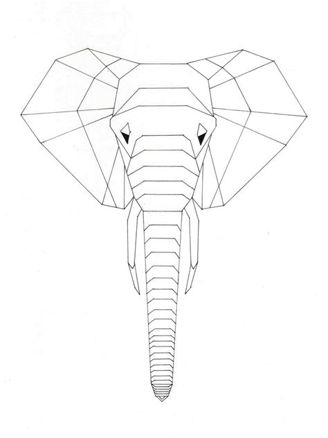 Origami Drawings - 2d origami elephant by travis on deviantart