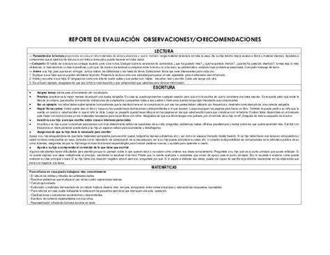 ejemplo de reporte de evaluacion de preescolar por cos reporte de evaluaci 243 n observaciones