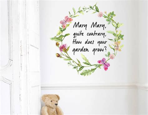nursery rhyme wall stickers quite contrary floral wall sticker