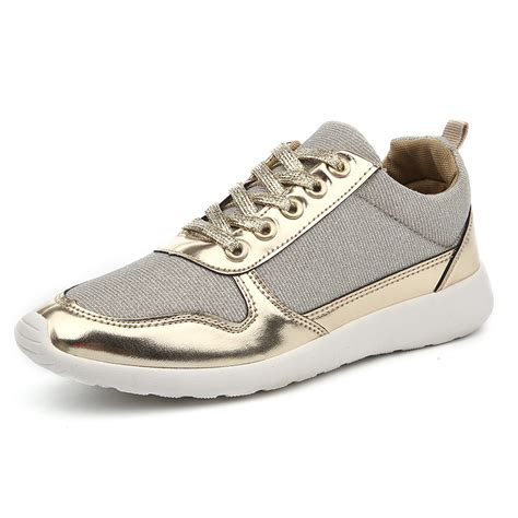 2017 brand new design casual shoes european style black gold silver color available sport