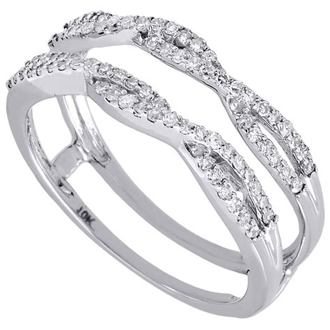10k white gold solitaire engagement ring enhancer