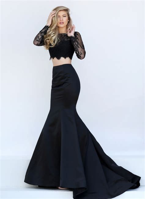 Sparkly Black Lace Beaded Two Piece Prom Party Dresses