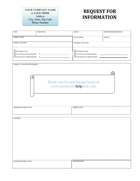 rfi template free contractors help desk forms